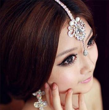 Amazoncom YOYOSTORE Rhinestone Frontlet Forehead Wedding Bridal