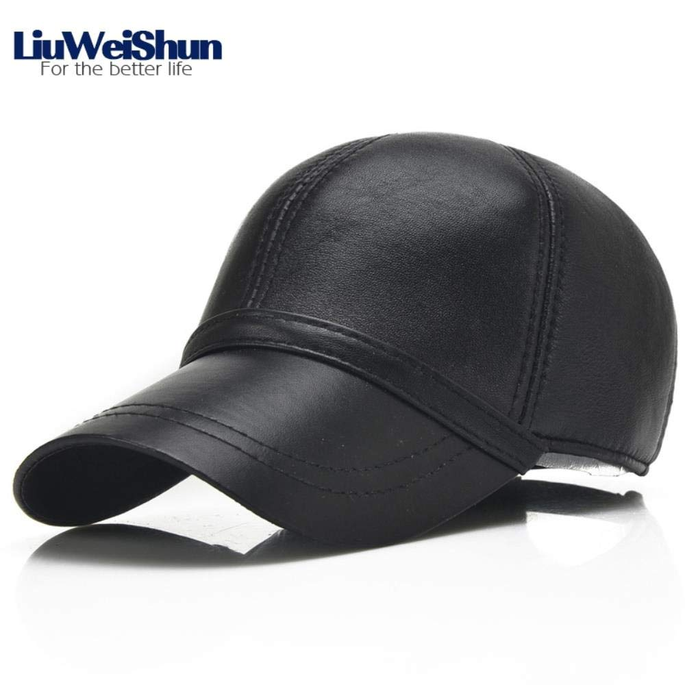 Spring Sheep Skin Genuine Leather Baseball Hats for Men Quality Adjustable Dads Casual Caps