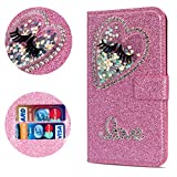 Stysen Flip Case for iPhone Xs Max 6.5'',Leather Cover with 3D Handmade Diamond Heart Sequins Glitter Shiny Wallet Magnetic Clasp for iPhone Xs Max 6.5''
