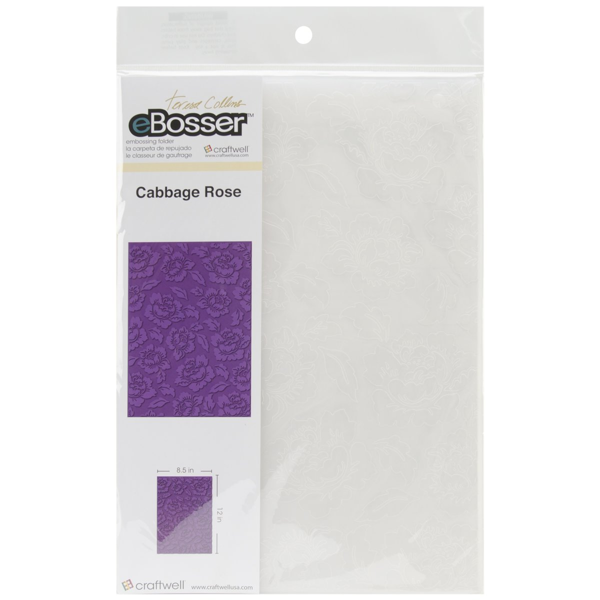 Craftwell USA Cabbage Rose Teresa Collins Embossing Folder, 8.5 by 12-Inch