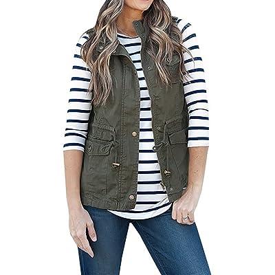 Annystore Women's Casual Sleeveless Lightweight Drawstring Botton Zipper Up Jacket Vest Coat with Pockets at Women's Coats Shop