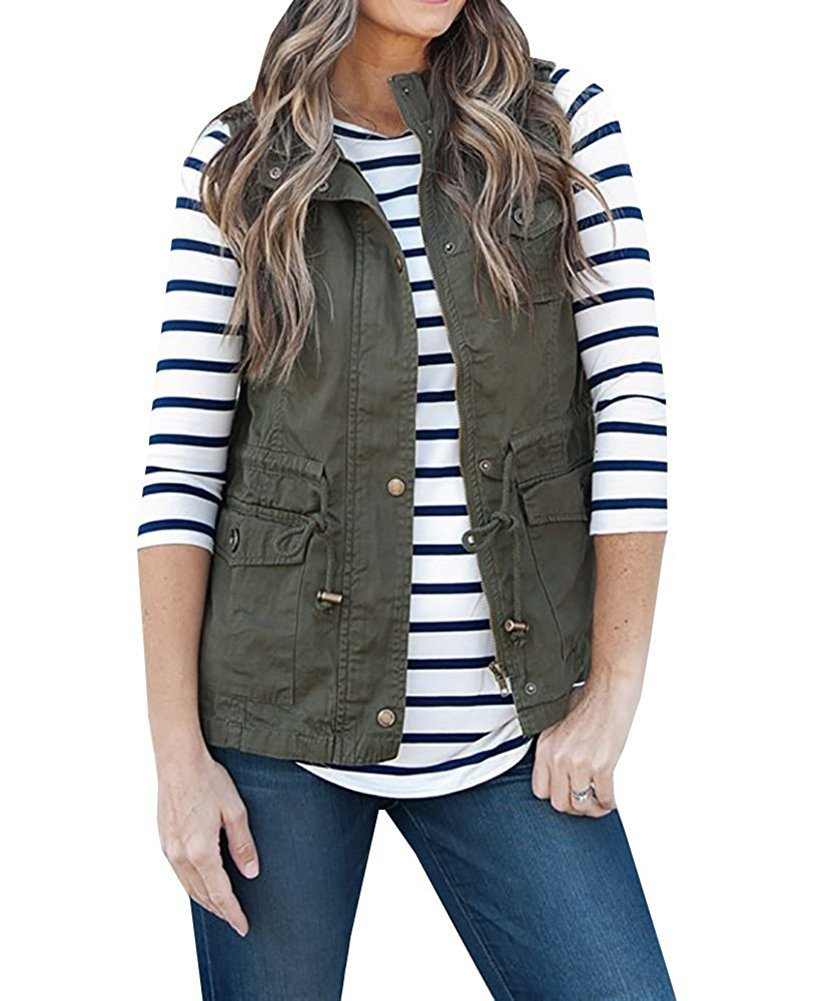 Women's Casual Lightweight Drawstring Zipper Military Vest Jacket Coat With Pockets Army Green M