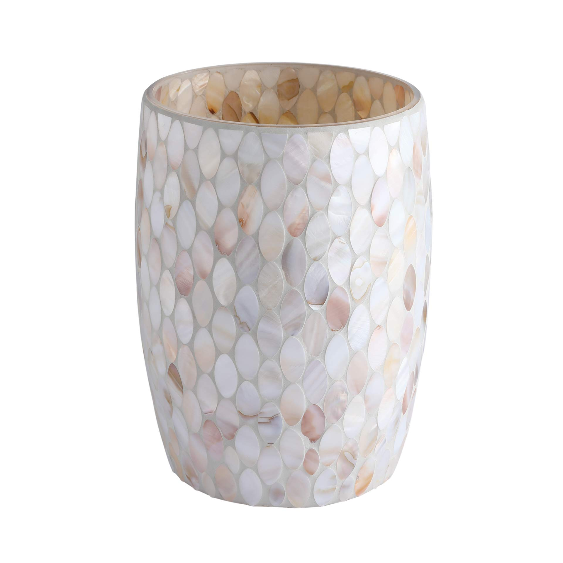 Whole Housewares Bathroom Wastebasket - Glass Mosaic Decorative Trash Can Dia 7.5'' H 10'' (Shell) by Whole Housewares