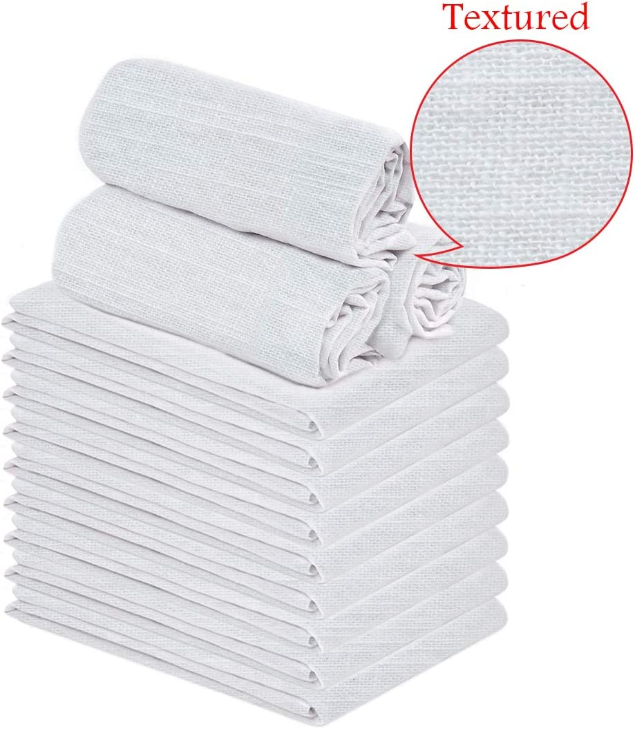 """Talvania Classic White Flour Sack Towels - 12-Pack of 100% Ring Spun Cotton Thick Home Kitchen Dish Towel. Soft Absorbent Dish Towels - Lint Free Measures 28"""" X 28"""" Tea Towel (Textured)"""