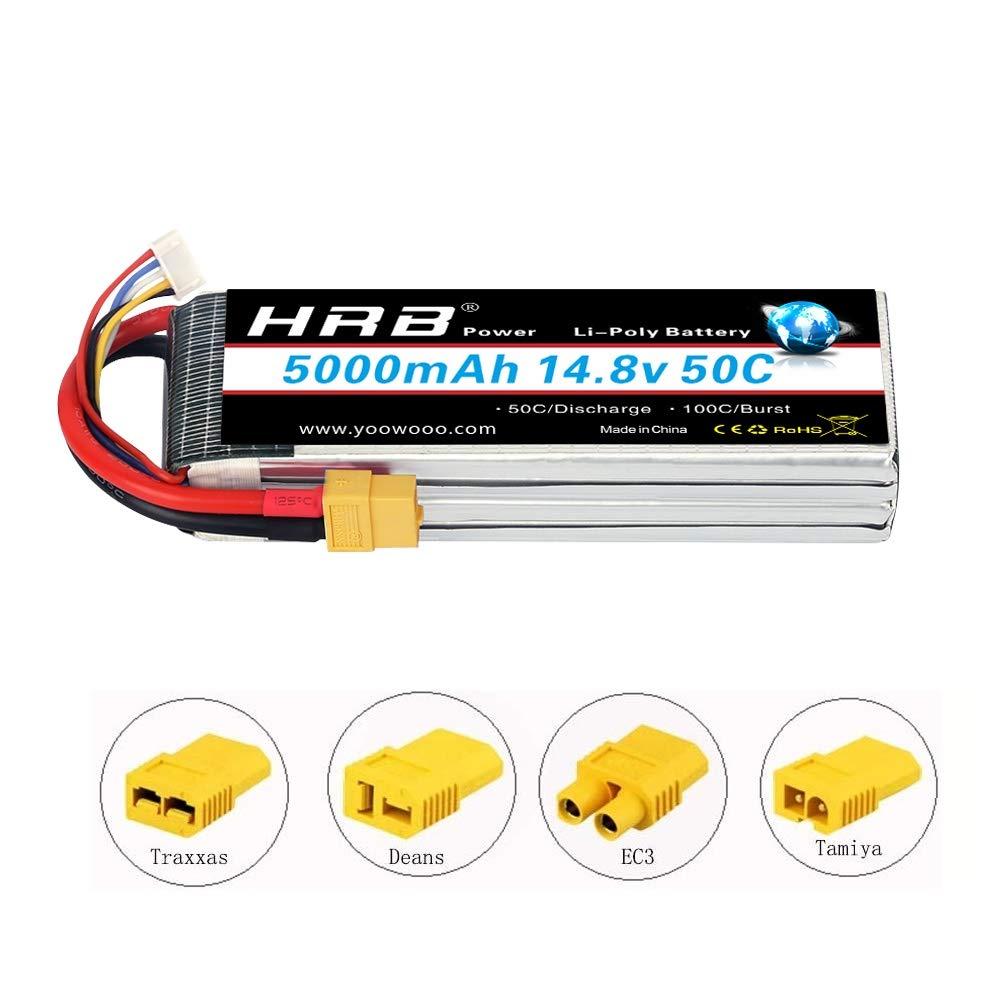 HRB 4S Lipo Batterie 14.8V 5000Mah 50C avec connecteur ec5 pour Traxxas Voitures RC Quadricopt/ère RC Voiture Camion Bateau Hobby EC5 Plug