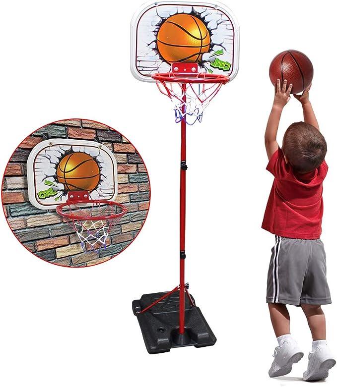 Taeku Kids Basketball Stand Adjustable Portable Mini Basketball Hoop Set Indoor Outdoor Sport Game with 2 Basketball