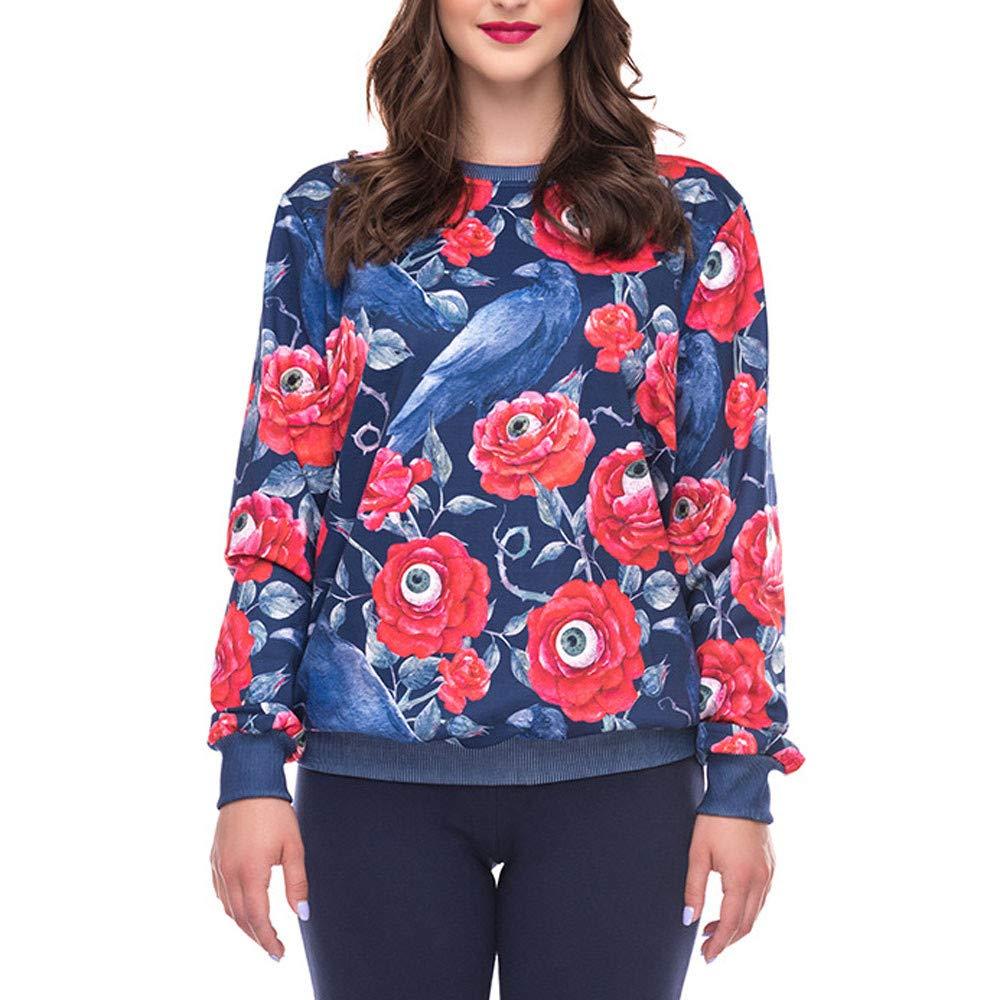 Ulanda Fashion Women Halloween Hoodie Sweatshirt Party Long Sleeve Printed Pullover Blouse O-Neck Sweatshirt
