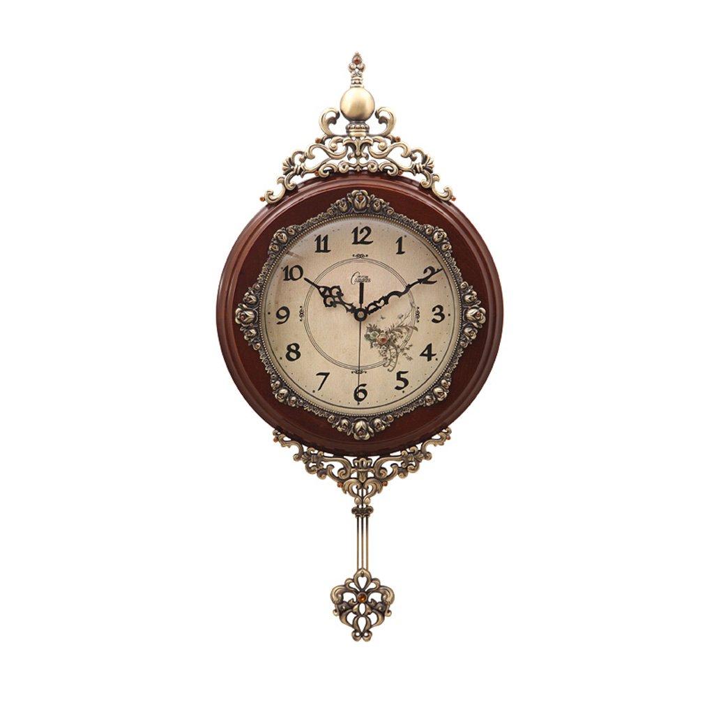 ヨーロッパの創造的なシンプルなリビングルームベッドルームの壁時計、パーソナリティシングルウォールマウント防水水分ミュート銅セット強化スタディオフィス茶色の白い丸い壁の時計 (Color : Brown) B07FQ6YVFPBrown