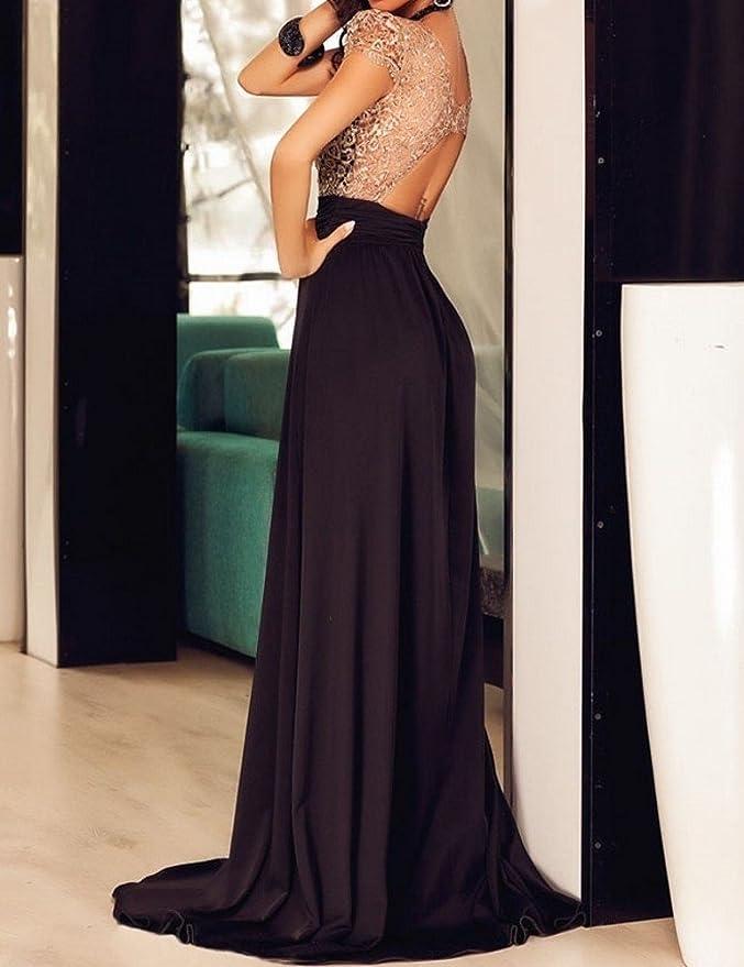 df30c50a0a2aea emmarcon Abito cerimonia da donna schiena nuda vestito lungo elegante da  sera festa-Black-L: Amazon.it: Abbigliamento