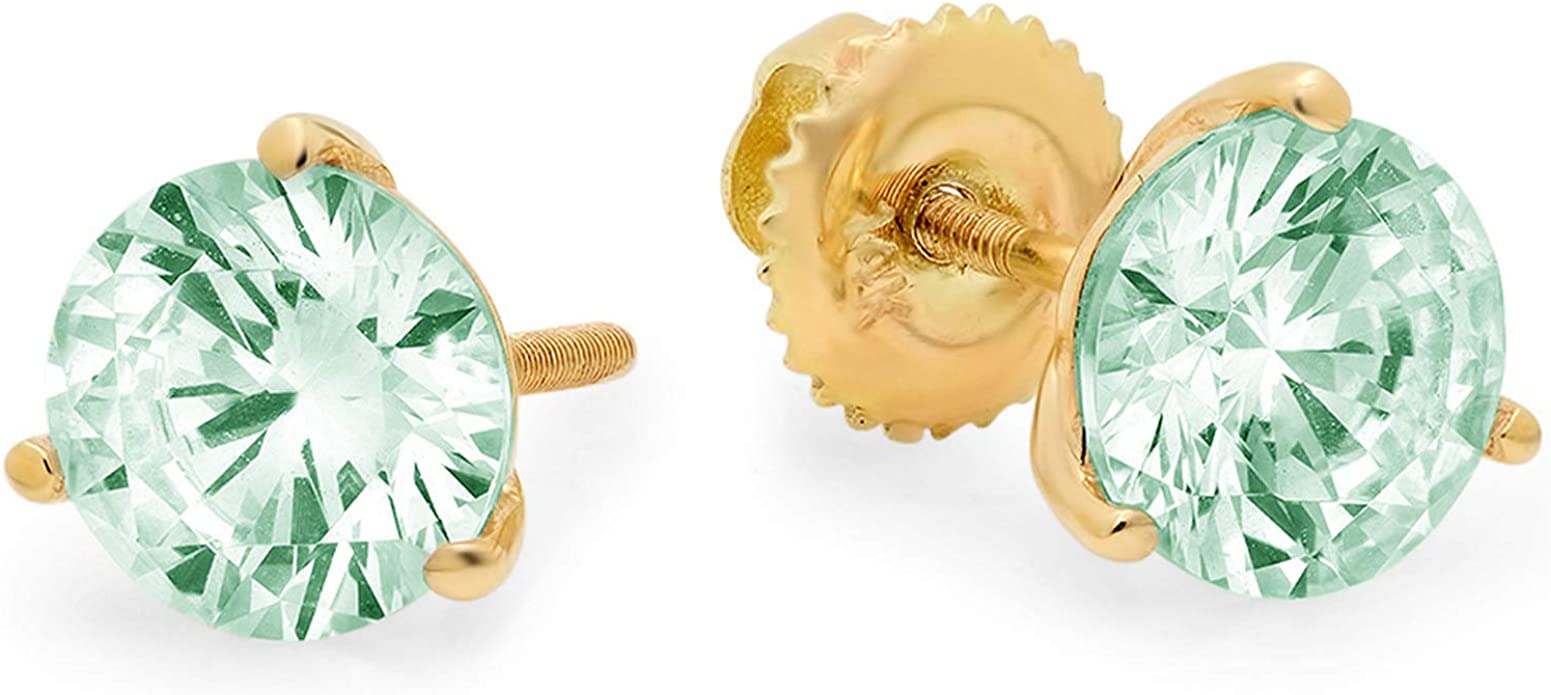 3 ct Brilliant Round Cut Solitaire Studs Designer Genuine Flawless VVS1 Simulated Turquoise 14K 18K White Gold Earrings Screw back