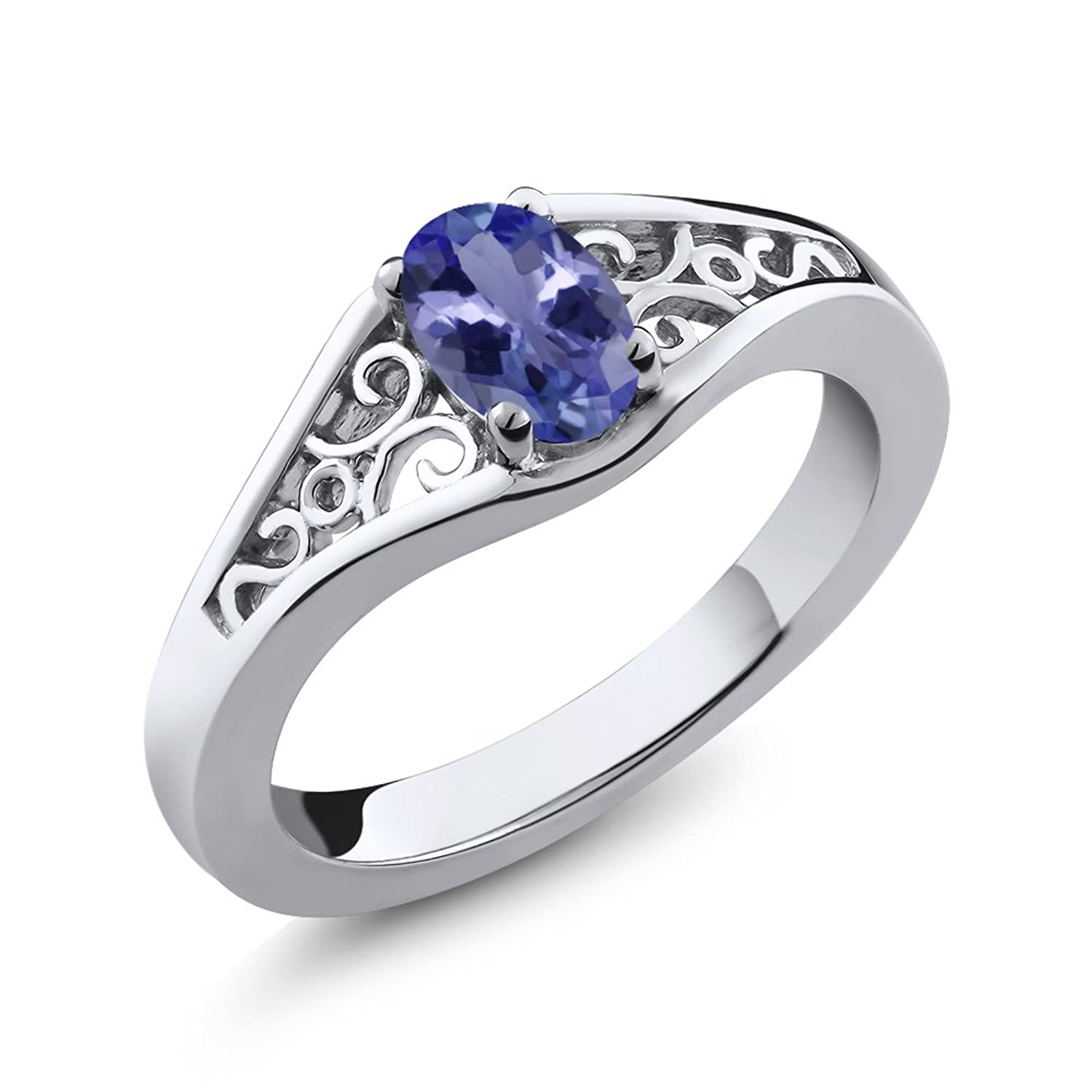 Sterling Silver Genuine Tanzanite Women's Ring (1/2 cttw, 6X4MM Oval, Available in size 5, 6, 7, 8, 9)
