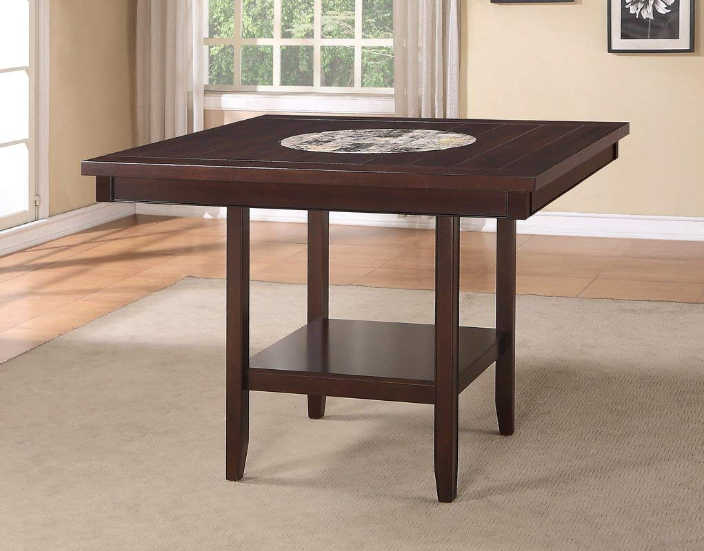 Wood Dining Table - Dining Table with Shelf - Espresso