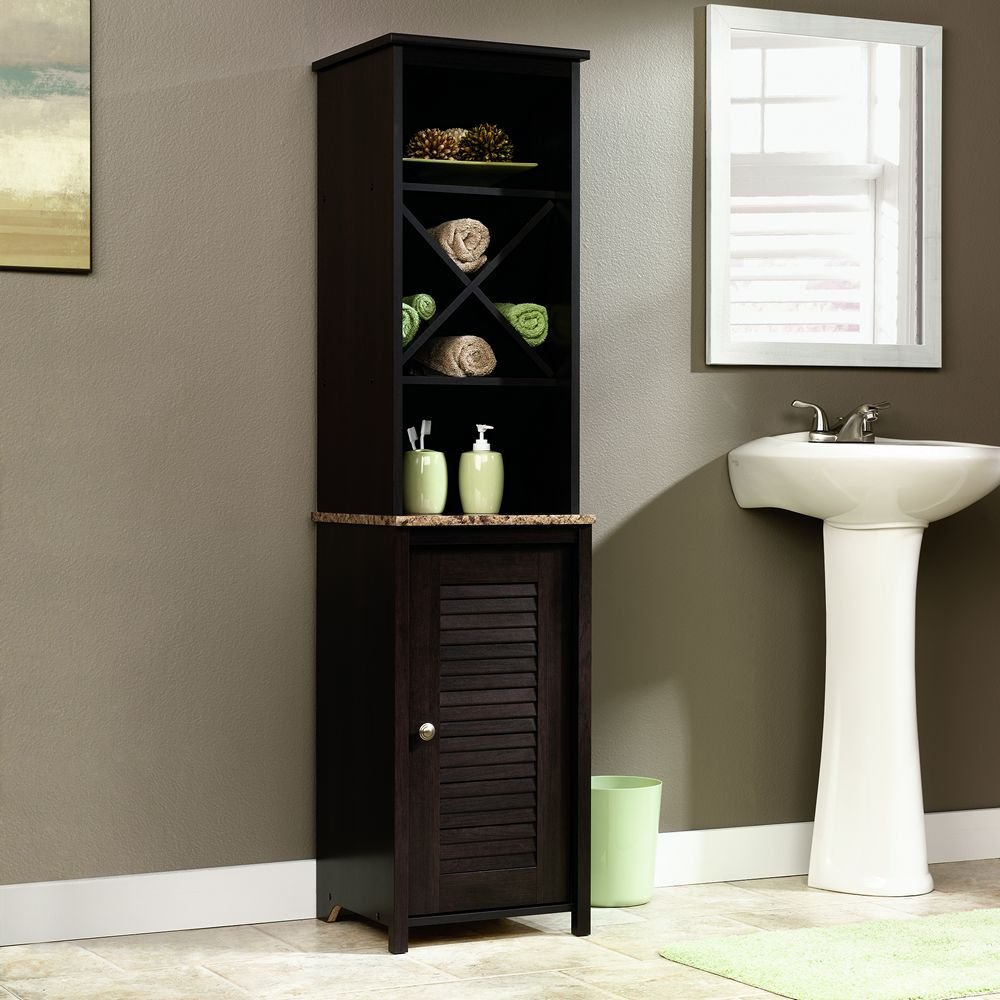 Bathroom Cabinet Tower Amazoncom Sauder Linen Tower Bath Cabinet Cinnamon Cherry