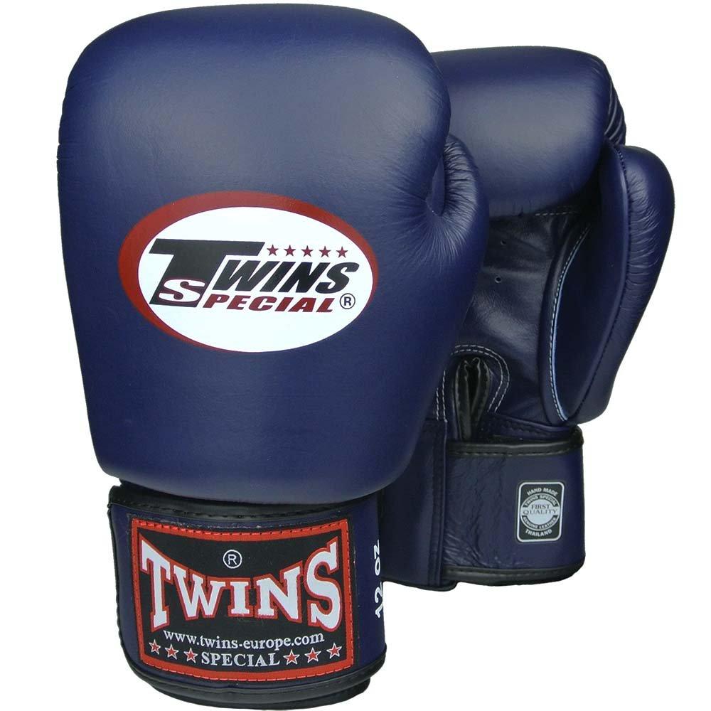 Muay Thai Leather Boxing Gloves Twins Boxhandschuhe Leder blau MMA