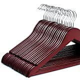 Lambow Zober Solid Cherry Wood Suit Hangers -20 Pack - with Non Slip Bar and Precisely Cut Notches - 360 Degree Swivel Chrome Hook - Cherry Finish Super Sturdy and Durable Wooden Hangers