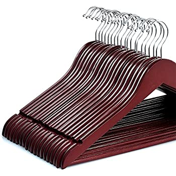 zober solid cherry wood suit hangers with non slip bar and precisely cut notches 360