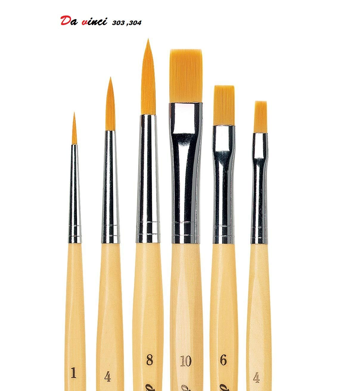 1 Olio e Acrilico 6,10,per Pittura ad Acqua Set di pennelli Rotondi Sintetici di da Vinci DEFET GmbH 303 4 4,8 .DEFET GmbH 304