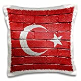 3dRose National Flag of Turkey Painted onto a Brick Wall Turkish - Pillow Case, 16 by 16-Inch (pc_155184_1)