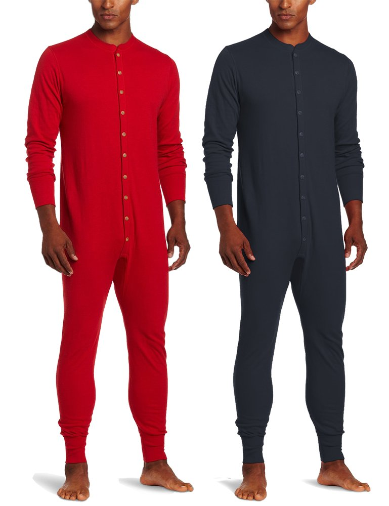 Duofold KMMU Men's Mid Weight Double Layer Thermal Union Suit L 1 Navy + 1 Red by Duofold