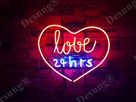"New Love 24hrs Beer Light Lamp Bar Wall Decor Neon Sign 20/"""