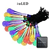 Eden Fghk Solar String Lights 20 LEDs Waterproof 8 Modes Water Drop Fairy String Outdoor Lighting Garden Holiday Paty Lights Decoration
