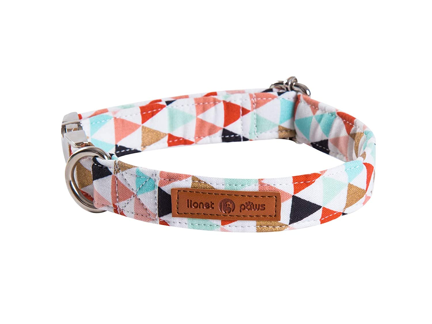 Neck 16-24in Lionet Paws Cotton Dog Collar with Bowtie Durable Adjustable and Comfortable Collar for Large Dogs