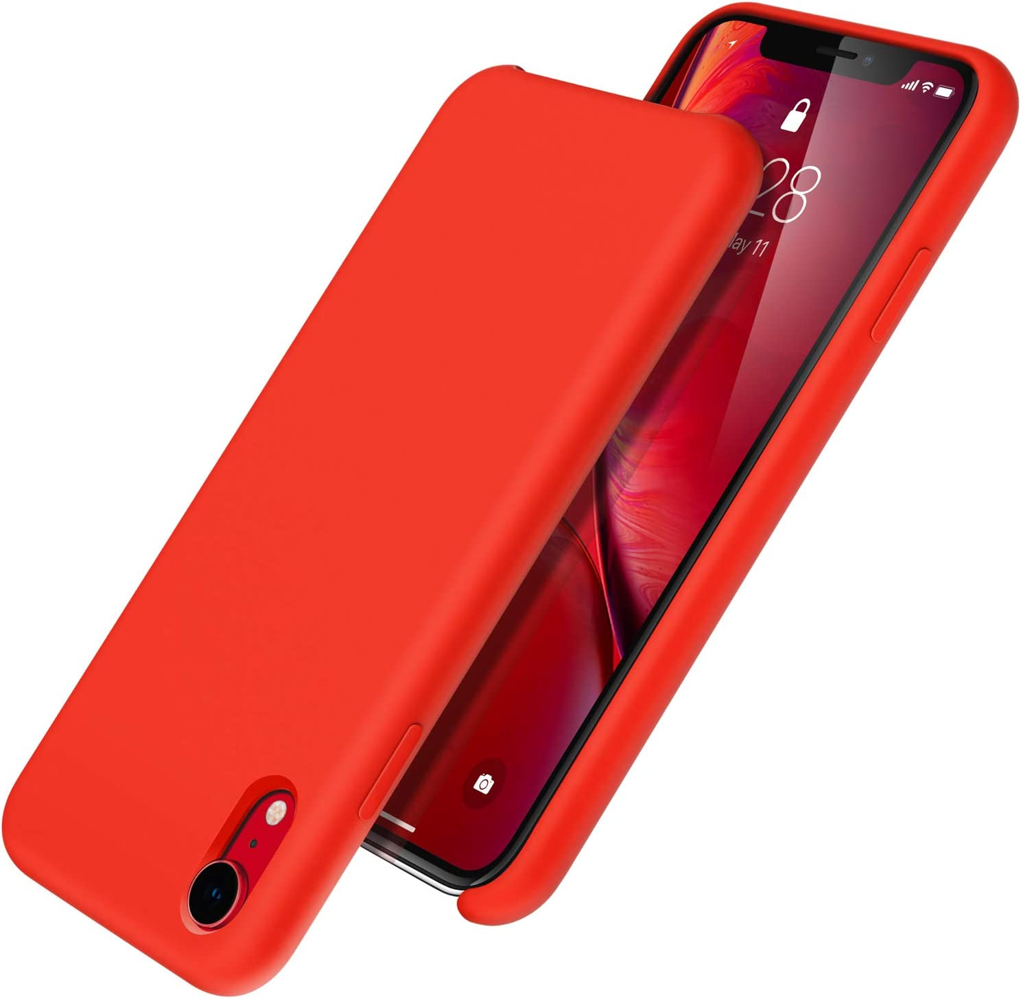 UGT iPhone XR Case, Liquid Silicone Rubber Slim Shockproof Case Microfiber Cloth Lining Compatible with Apple iPhone XR 6.1 inch, Red