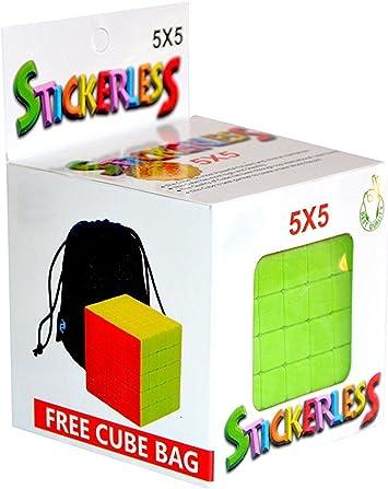 AdiChai 5 by 5 Speed Magic Stickerless Rubik Cube with Pouch