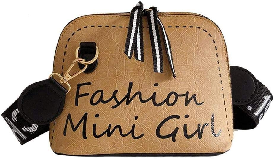 Color : Brown, Size : Style 01 Bolso de Mensajero Retro de Cuero de Mujer con Correa de Hombro Ancha marr/ón Claro