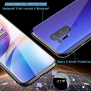 Yomiro Coque Adsorption Magn/étique pour OnePlus 8 Avant Arri/ère Verre Tremp/é Case 360/° Protection Etui Transparent Flip Cover Couverture Plein /écran Couverture.