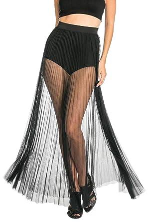 24a0de8e1c4d9 COCOLEGGINGS Women's Pleated High Waisted Beach Wear Sheer Mesh Maxi Skirt  Black XS