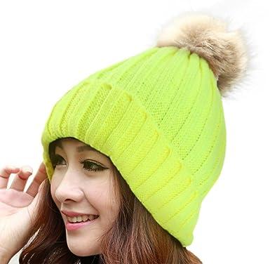 Tongshi Mujeres Caliente Invierno Piel Tejido Lana Crochet Ski Cap ...