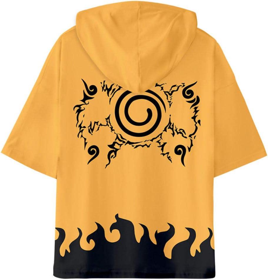 TJJF Trend Naruto T-Shirt 3D-Druck Kurzarm Anime Hooded T-Shirt Männer Harajuku Japanische Streetwear Anime Plus Hoodie S