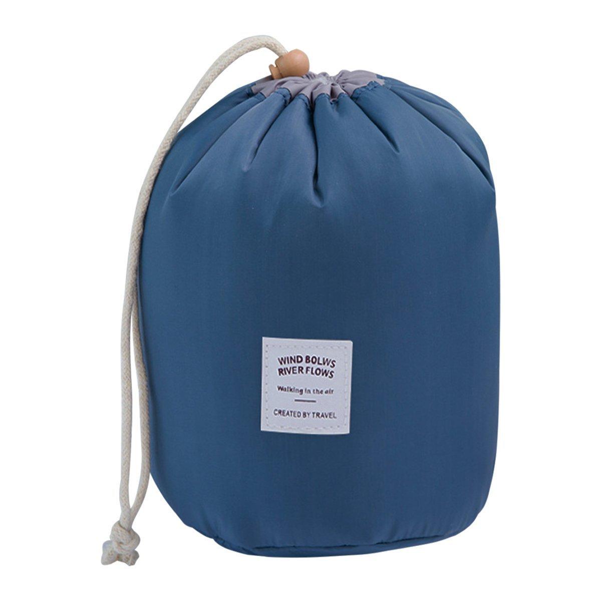 COOJA Reise Kulturbeutel Damen, Wasserdicht Rund Kosmetiktasche mit Kordelzug, Kulturtasche Waschbeutel + Mini Beutel + Transparente PVC Tasche -Dunkel Blau