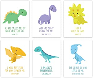 Andaz Press Christian Bible Verses Quotes Nursery Kids Room Unframed Hanging Wall Art Poster Home Decor, 8.5x11-inch, Dinosaur Theme, I Am a Child of God, 6-Pack, No Frames