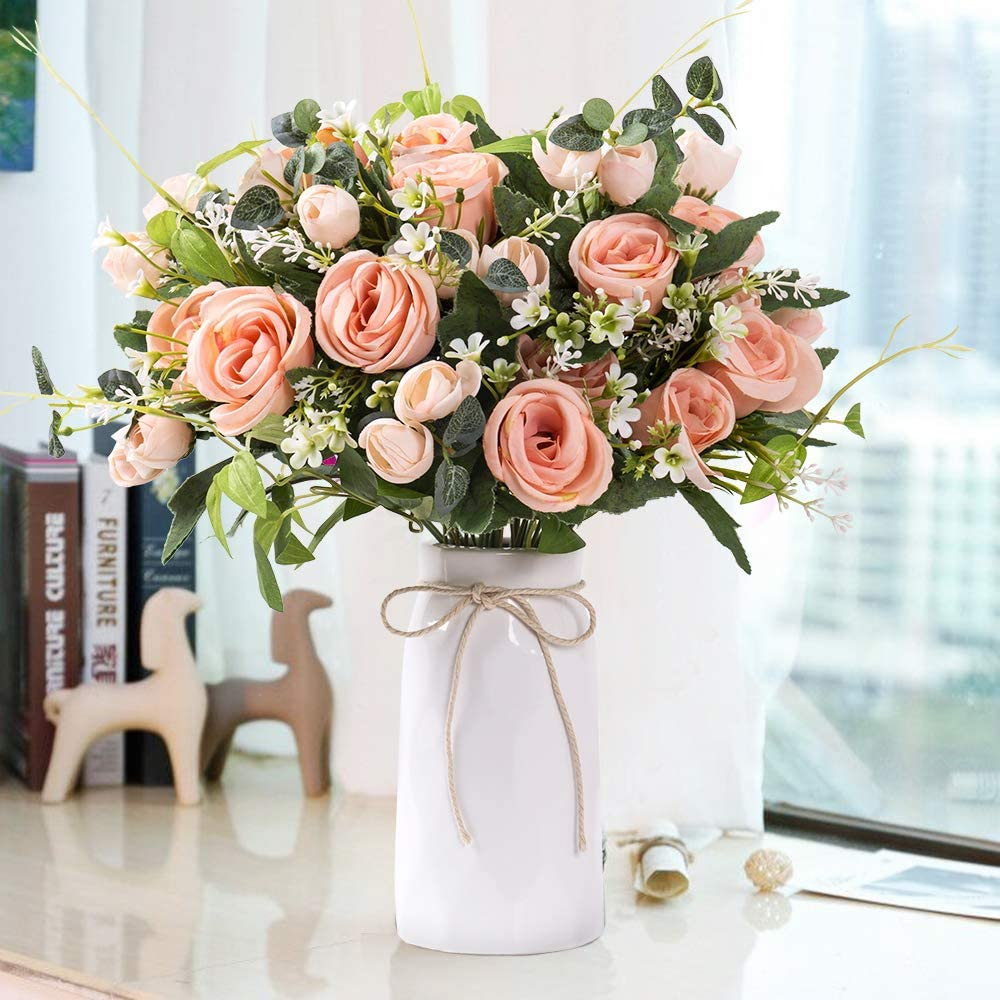 YUYAO Artificial Flowers Rose Bouquets with Vase Fake Silk Flower with Ceramic Vase Modern Bridal Flowers for Wedding Home Table Office Party Patio Decoration (Champagne Pink)