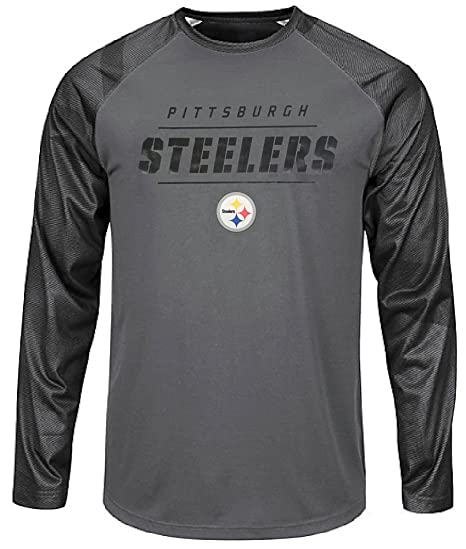 c63bbe8c8 Game Time Pittsburgh Steelers Mens Grey Synthetic League Rival Long Sleeve  T Shirt (Large)
