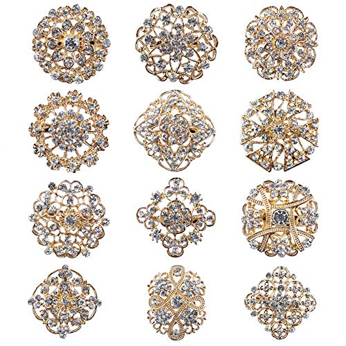 (Fashion Lot 24pc Clear Rhinestone Crystal Flower Brooches Pins Set DIY Wedding Bouquet Broaches Kit (12pcs(Gold-Toned)))