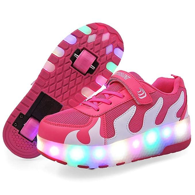 Recollect Infantiles Patines de Ruedas Zapatillas de Skate con Ruedas Dobles con luz LED Zapatillas de Deporte de Entrenamiento Deportivo al Aire Libre: ...