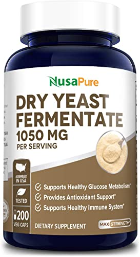 Dry Yeast Fermentate 1050mg 200 Veggie Caps Non-GMO Gluten Free Powerful Immune System Seasonal Sensitivity Support, Whole Cell Saccharomyces Cerevisiae Yeast