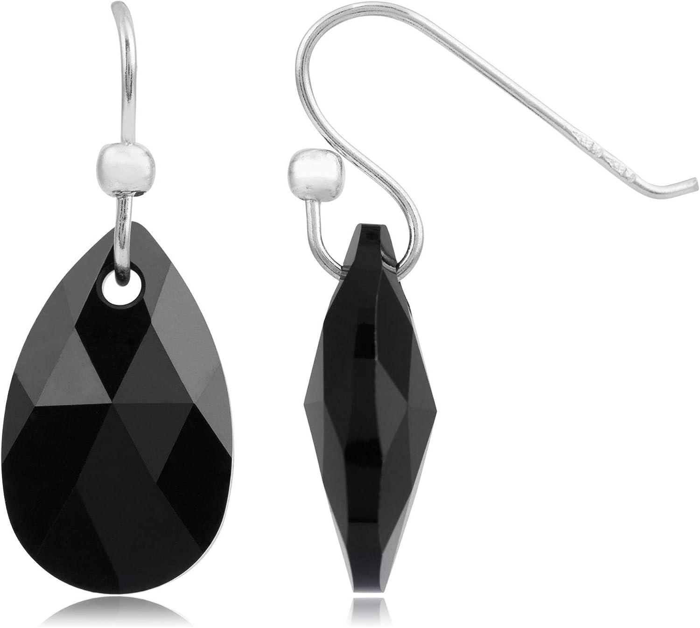 Córdoba Jewels | Pendientes en plata de ley 925 con cristales by Swarovski con diseño Gota Swarovski Onix Silver