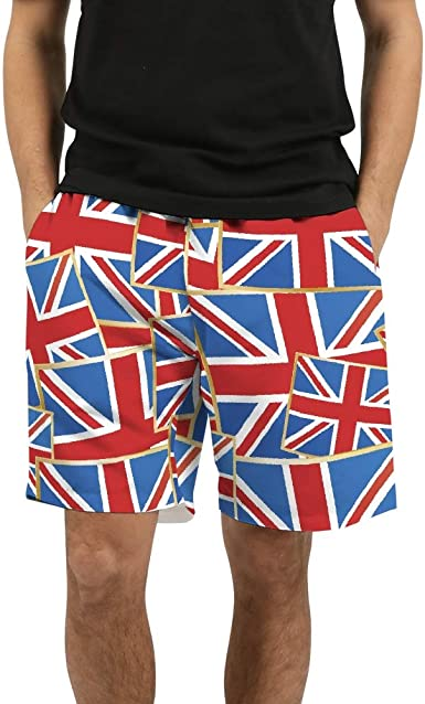 Mens Swim Trunks United Kingdom Flag Drawstring Boardshorts