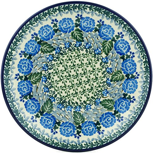 Polish Pottery 7¾-inch Dessert Plate made by Ceramika Artystyczna (Blue Rose Trellis Theme) Signature UNIKAT + Certificate of Authenticity ()
