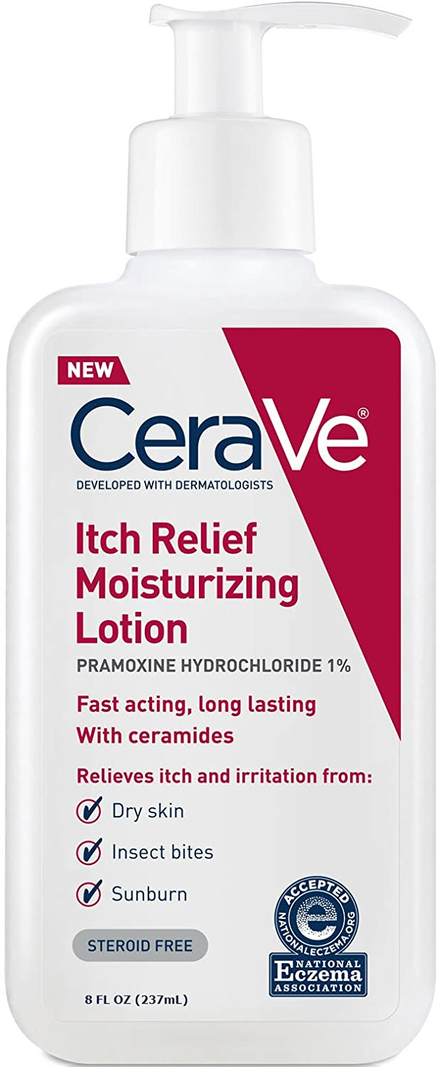 CeraVe Moisturizing Lotion for Itch Relief | 8 Ounce | Dry Skin Itch Relief Lotion with Pramoxine Hydrochloride | Fragrance Free