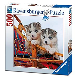 Ravensburger 15230 Puzzle Quadrato Cuccioli Di Husky 500 Pezzi