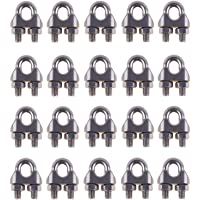 Eowpower 20PCS Stainless Steel 1/8″ M3 Wire Rope Cable Clip Clamp