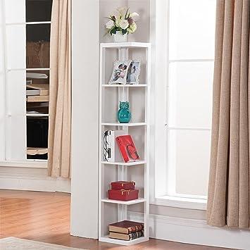 Amazoncom Topeakmart 5 Tier White Wood Wall Corner Bookshelf