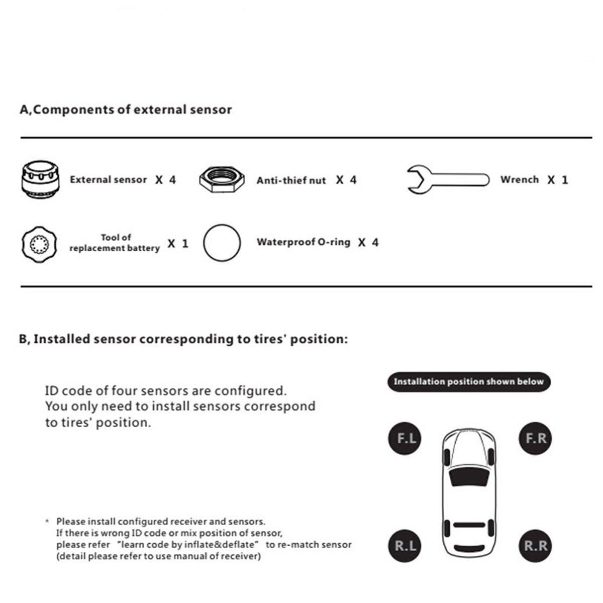 OBD2 HUB Solar Energy Tire Pressure Monitor System TPMS LCD Display 4 Internal Sensor Temperature Sensor T01C
