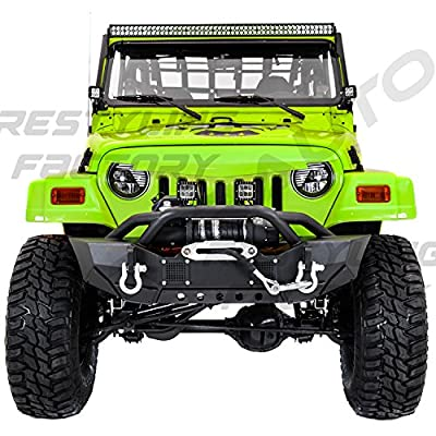 Restyling Factory 97-06 Jeep Wrangler TJ HD Rock Crawler Front Bumper with Winch Mount Plate, Built in 2x Square LED Side Mount, Double Plate protection