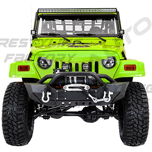 -06 Jeep Wrangler TJ HD Rock Crawler Front Bumper with Winch Mount Plate, Built in 2x Square LED Side Mount, Double Plate protection (Black) (Hd Front Winch Bumper)